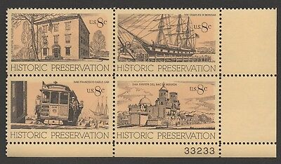 SCOTT 1440-43 8-cent US POSTAGE Historic Preservation PLATE BLOCK of 4 - MNH VF