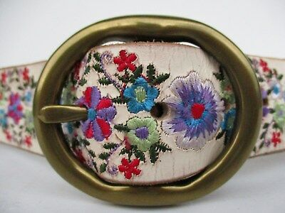 LUCKY BRAND Vintage White Leather EMBROIDERED Flower Belt Brass Buckle Womens M