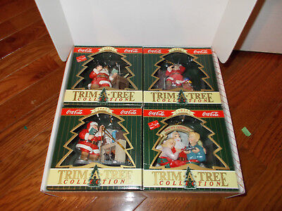 1997 Coca-Cola Set Of 4 Christmas Ornaments-In Box-Vintage Santa From Years Past