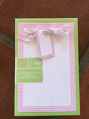 Baby Announcement Box New Pink Gingham Ribbon Cute 50 Set Gartner  Photo