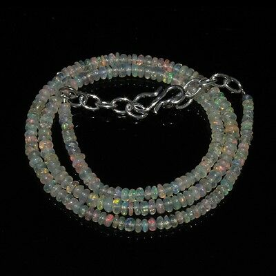 26 Ct Natural Ethiopian Welo Fire Opal Smooth Rondelle Beads Necklace 1588