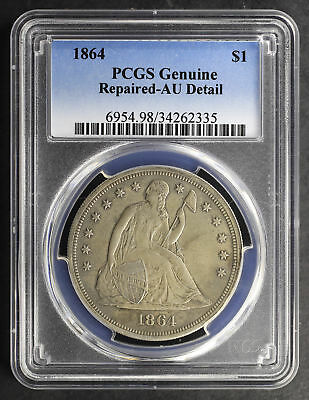 1864 Seated Liberty Silver Dollar PCGS AU Details Repaired -165785