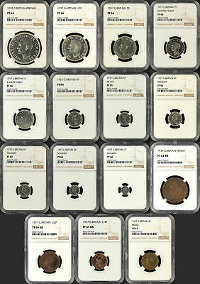 15 Pc. Set 1937 Great Britain Crowns, Shillings, 3 & 6 Pence, Pennies NGC-165508