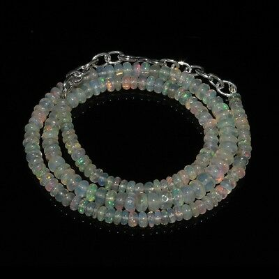 41 Ct Natural Ethiopian Welo Fire Opal Smooth Rondelle Beads Necklace 1596