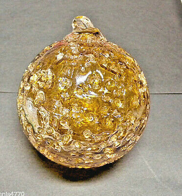 "Hanging Glass Ball 4"" Diameter Caramel Crackle (1) HGB24"