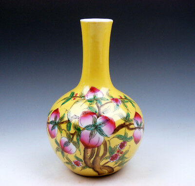 7 Inches Yellow Glazed Porcelain Peaches Peach Tree Painted Unique SKY-BALL Vase