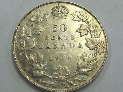1918 Canada Silver Half Dollar Better Date Great 4 Book No Reserve !