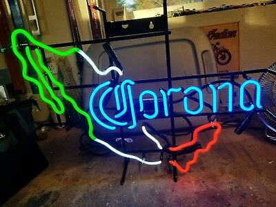 Corona Beer Authentic Cx Tri-Color Mexico Map Neon Sign