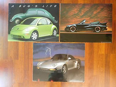 lot of 3 laminated 24 x 18 car posters porsche volkswagon bug