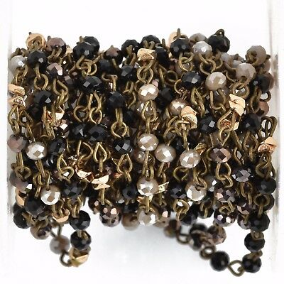1yd Gray Crystal Rosary Chain, bronze, black, gold heishi beads, 4mm fch0819a