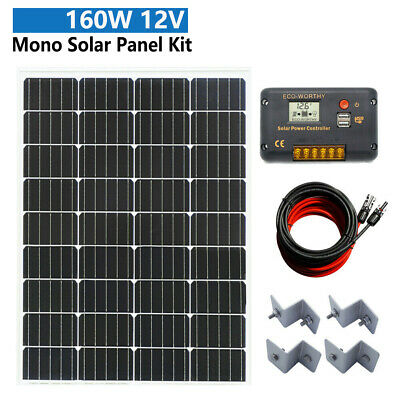 Off Grid Solar System 160W Solar Panel Kit Charging 12V Battery Power Home Camp
