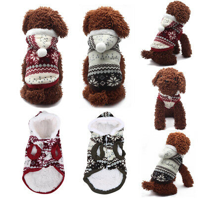 Pet Dog Puppy Snowflake Xmas Hoodie Coat Winter Warm Apparel Sweater Clothes Kit