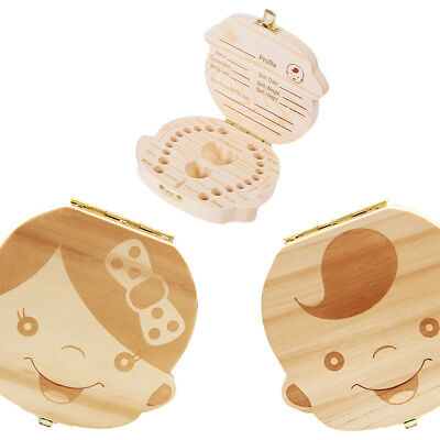 1 Pc Boy&Girl Save Milk Teeth Wood Storage Box Tooth Box Organizer for Baby Kids