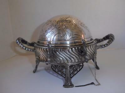Victorian Meridan Quadruple Silver Plate Cheese Butter Dish Roll Top Lid & Liner
