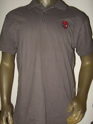 New Men S Xl Gray Marvel Comics Spider Man Hero Face Disney Polo Rugby Shirt