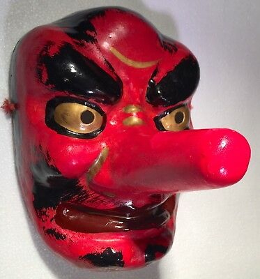 Vintage Japanese Tengu Noh Long Nose Devil God Kabuki Theatre Theater Stage Mask