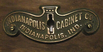 Antique INDIANAPOLIS CABINET CO Indiana BRASS ESCUTCHEON PLATE From DESK Vtg Adv