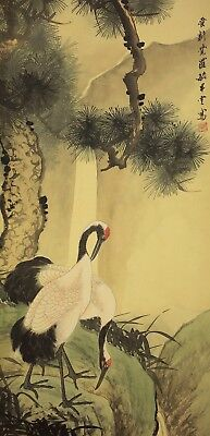 """CHINESE HANGING SCROLL """"Waterfall,Pine Tree and Two Cranes""""  @u172"""