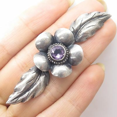 Vtg 925 Sterling Silver Real Amethyst Gem Large Floral Pin Brooch