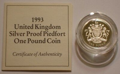 1993 PIEDFORT Silver Pound of United Kingdom SUPERB GEM PROOF with COA