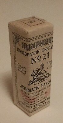 Dr HUMPHREY'S HOMEOPATHIC MEDICINE FULL-SEALED BOTTLE Asthmatic 21 vtg