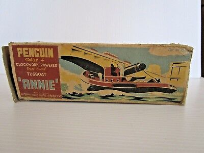 VINTAGE BOXED 1950's BOXED CLOCKWORK TUGBOAT ANNIE - ENGLISH  MADE PENGUIN