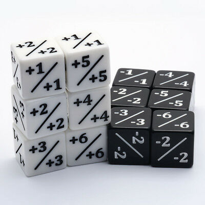 Set of 6 Counters White +1/+1 Black -1/-1 Dice for Magic The Gathering CCG MTG