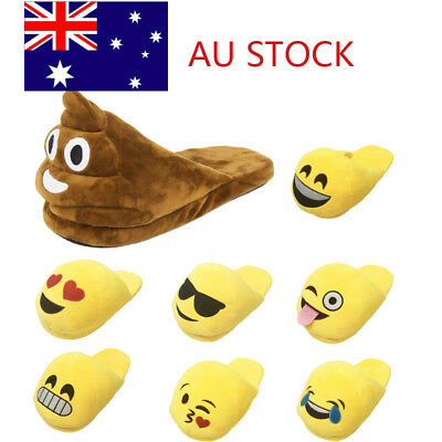 Womens Mens Couple Funny Emoji Home Slipper Winter Indoor Warm Plush Shoes Size