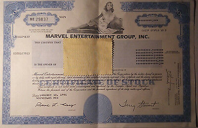 Marvel Entertainment Group Stock Certificate 1995