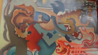 mid century abstract oil painting signed S Marius #7
