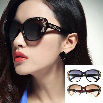 Gold Rose Flower Carving Women Fashion Cat Eye Vintage Sunglasses Glasses HT