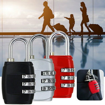 Portable Mini 3 Dial Number Code Padlock Combination Luggage Lock Safty Password
