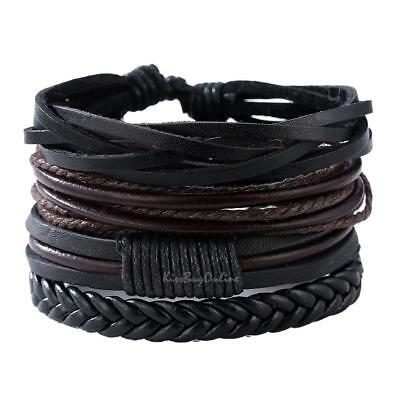Adjustable Mens Multi Row Leather Bracelet Braided Cowhide Wrist Band Wristband