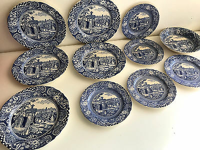 w r midwinter landscape blue and white old 11 pieces plates and bowl england