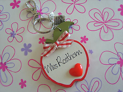 Personalised Handmade Wooden Apples Keyring Thank YOU Best Teacher Charm Gifts