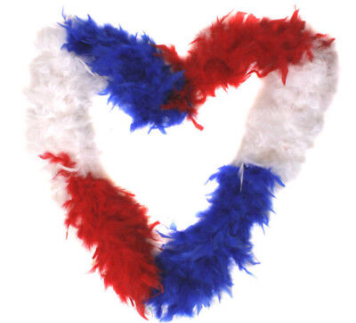 Red White Blue Feather Boa Fancy Dress Accessory Great Britain France Supporter