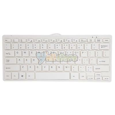 Ultra Thin Wired USB Mini PC Keyboard for PC Apple Mac Laptop Notebook White New