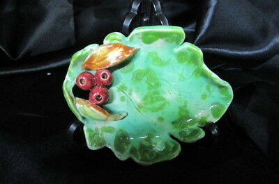 Vintage Hand Made Pottery Gum Leaf And Gum Nut Pin Dish.