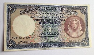 Egypt 1945 1 Pound ,Nixon Signature, High Grade , Good DEAL FOR YOUR COLLECTION