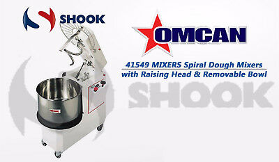 Omcan 41549 Commercial Spiral Dough Mixers with Raising Head & Removable Bowl