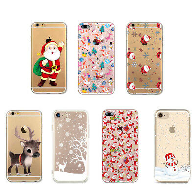 Slim Christmas Festivel Santa Reindeer Clear Phone Case Cover For iPhone X 10 X