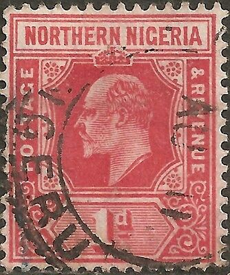 USED 1910 Red NORTHERN NIGERIA One Penny Stamp KING EDWARD VII. British Colony