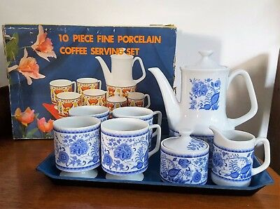 70s Retro Japan - 10 Piece Porcelain Coffee Set Complete with Original Box
