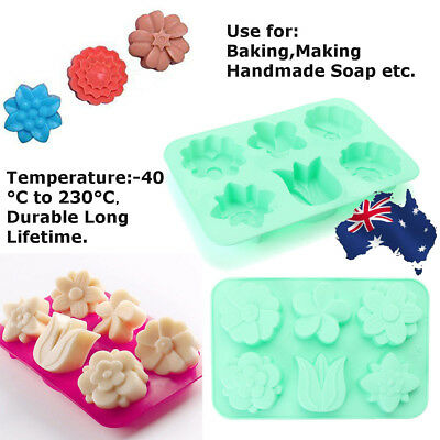 6 Cavity Flower Shaped Silicone Soap Mold DIY Handmade Candle Cake Mold Supplies