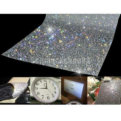 "9.5""x16"" Bling Rhinestone Self Adhesive Stickers Car Phone Case Decor Sliver"