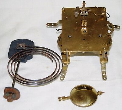 Antique 8 Day Clock Movement with Original Hands Chimes & Pendulum M15