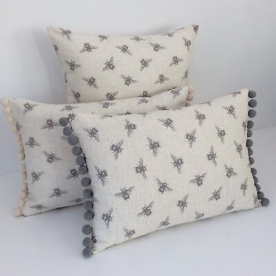 Bumble bee linen look cushion covers vintage style cream fabric bumble bee linen look cushion covers vintage style cream fabric grey pom pom junglespirit Choice Image