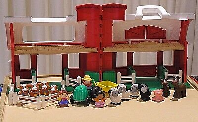 Fisher Price Little People Vintage Farm House & Silo Animals Tractor & Figures