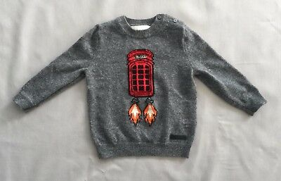 BURBERRY Kids BABY BOYS TELEPHONE BOX ROCKET CASHMERE SWEATER 12 MONTHS RRP $350