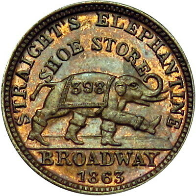 1863 Albany New York Civil War Token Straight's Elephant In Boots